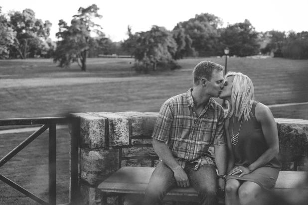fav black and white kissing on bench